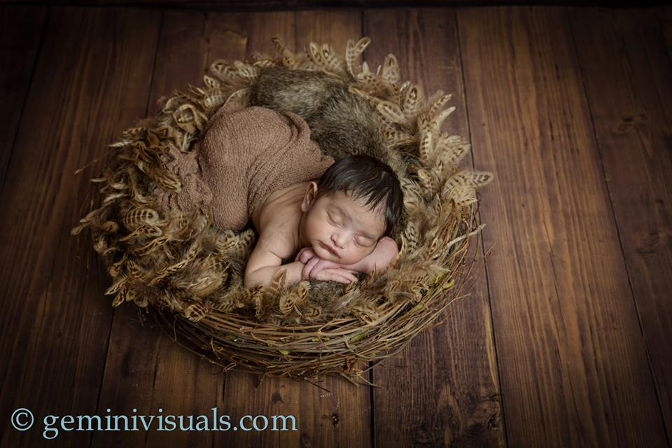 Newborn Photography Nested Baby Sleeping