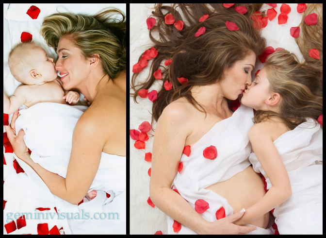 Mother and Daughter shots, years apart.. Family Photography with Roses