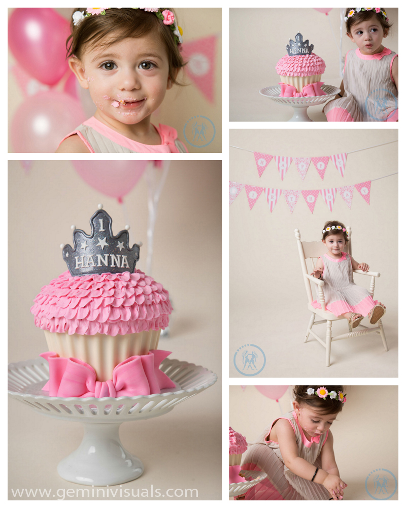 Little Girl Cake Smash Photography Pink White Rock South Surrey