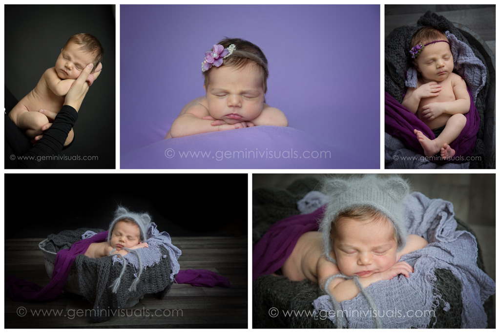 White Rock Newborn Photographer Purple Themed Newborn Photography