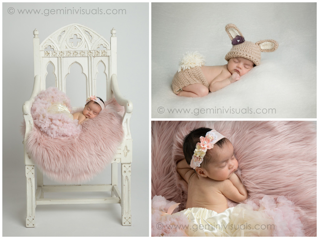 newborn baby in pink on chair