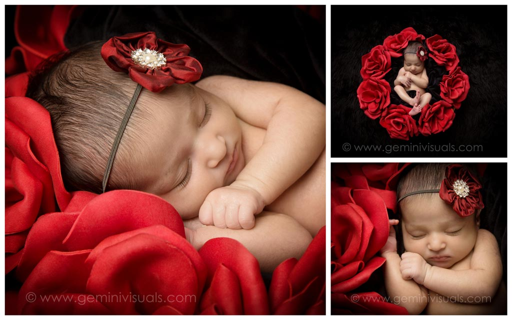 newborn baby photography white baby with red roses